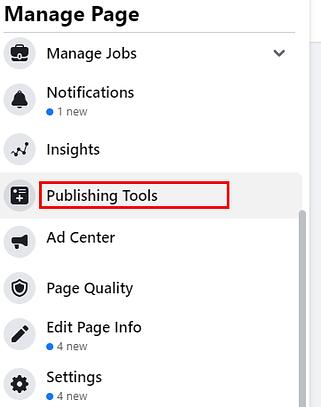 Cliquez sur l'option Outils de publication