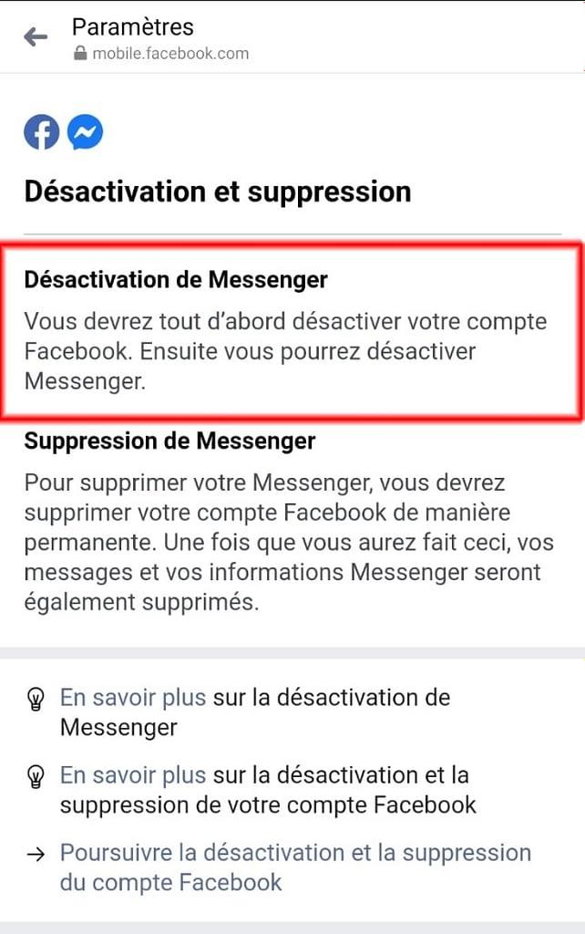 Désactiver Messenger
