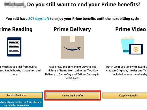 Amazon vous demandera si vous êtes sûr de vouloir mettre fin à vos avantages Prime