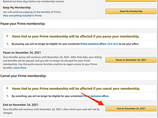 cliquez sur le bouton situé sous l'en-tête Annuler votre abonnement Prime