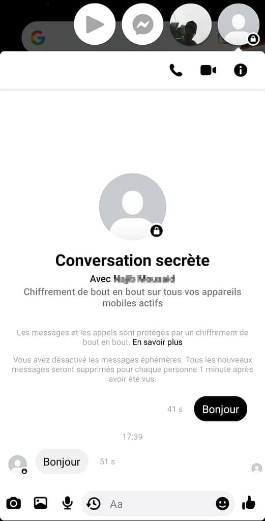 conversation secrète de Messenger