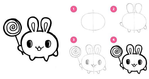 dessiner le lapin dessin kawaii facile