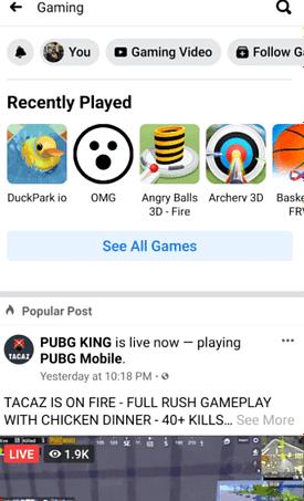 les jeux disponibles sur Facebook Gaming